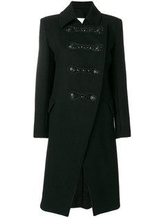 асимметричное пальто в стиле милитари Pierre Balmain