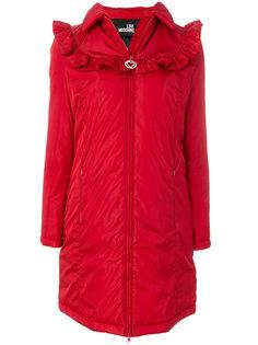 легкое пальто с оборками на плечах  Love Moschino