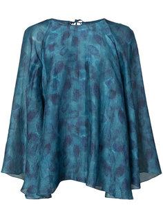 leaves print shift blouse Paule Ka