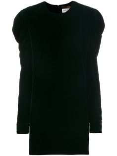 платье мини со сборками на рукавах Saint Laurent