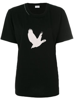 футболка с принтом в виде птицы Saint Laurent