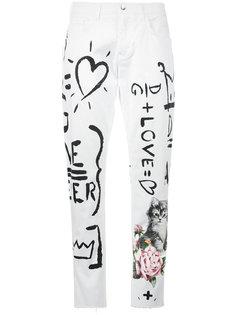 джинсы-бойфренды с принтом надписей от руки Dolce & Gabbana