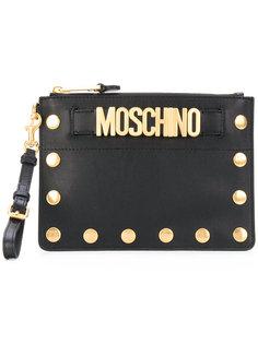 клатч с заклепками и логотипом Moschino