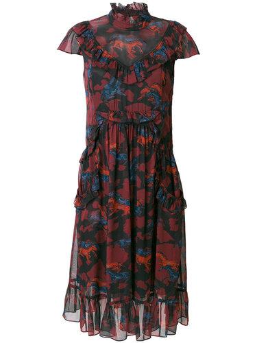 платье с оборкой  Coach