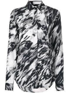 рубашка с размытым леопардовым принтом  Saint Laurent