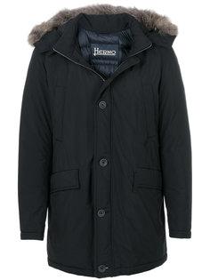 пальто с капюшоном и меховой оторочкой Herno