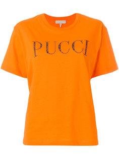 футболка с украшенным стразами логотипом  Emilio Pucci