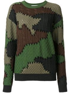вязаный свитер с камуфляжным узором Moschino