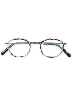 очки в круглой оправе с эффектом черепашьего панциря Masunaga