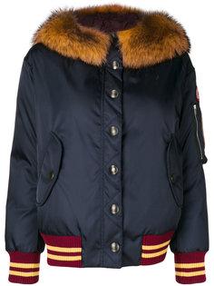 куртка-бомбер с отделкой из меха енота  Miu Miu