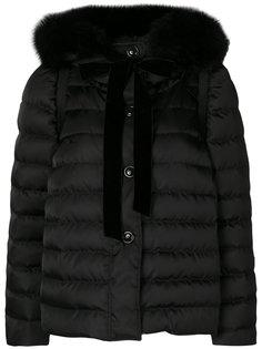 дутая куртка с мехом лисы  Miu Miu