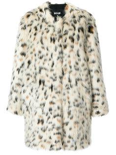 пальто с леопардовым принтом  MSGM