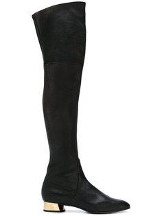 высокие сапоги на каблуке металлик Casadei