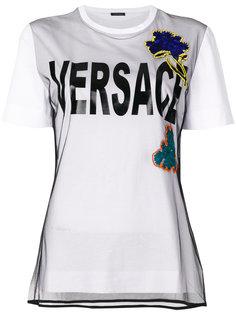 футболка с вышитым цветком Versace