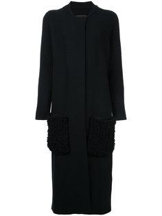 кардиган-пальто без воротника с накладными карманами Oyuna