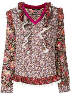 блузка с цветочным принтом, вышивкой и оборками Diesel