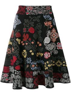 узорчатая юбка А-образного силуэта Alexander McQueen