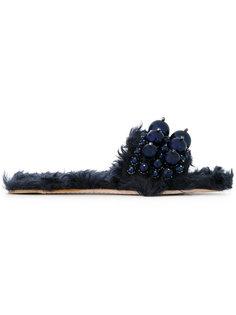 шлепанцы из искусственного меха с декором Miu Miu