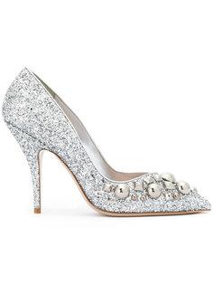 туфли-лодочки с блесками и заклепками Miu Miu