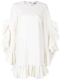 платье шифт с оборкой  MSGM