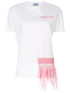 футболка с перьями Prada