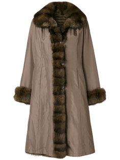 пальто с контрастной меховой отделкой  Liska