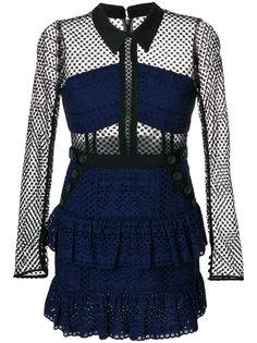короткое платье с панельным дизайном Self-Portrait
