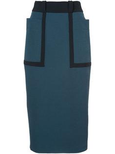 юбка миди с конрастным поясом Roksanda