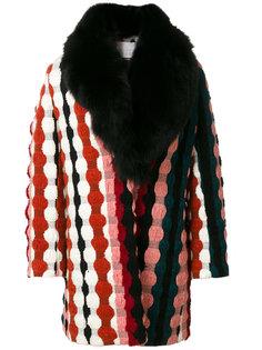 пальто с вышивкой и меховым воротником Giada Benincasa