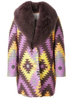пальто с вышивкой и отделкой из лисьего меха Giada Benincasa