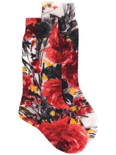 носки с цветочным принтом  Prada