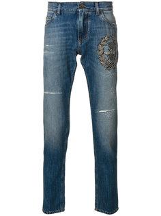 джинсы с вышивкой короны и пчелы Dolce & Gabbana