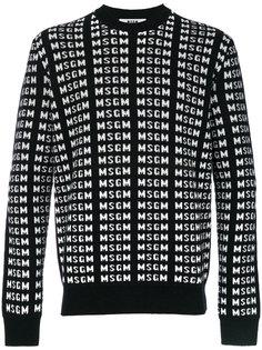 свитер со сплошным принтом с логотипом MSGM