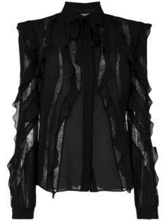 оборчатая блузка с полупрозрачными вставками Elie Saab