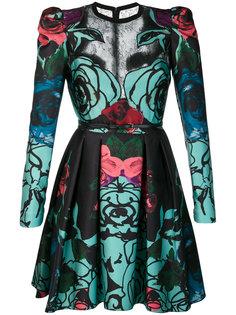 расклешенное платье с розами Elie Saab