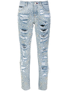 узкие джинсы с объемным декором Philipp Plein