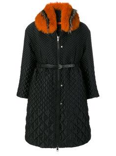 пальто с воротником из лисьего меха Ermanno Scervino