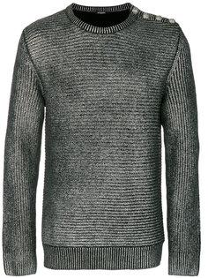 свитер в рубчик с эффектом металлик Balmain