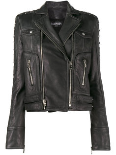 укороченная байкерская куртка Balmain