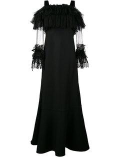 длинное платье с кружевными рукавами  Alberta Ferretti
