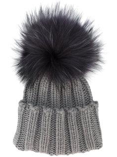 ребристая кашемировая шапка с меховым помпоном Inverni