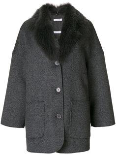 пальто свободного кроя с меховым воротником P.A.R.O.S.H.