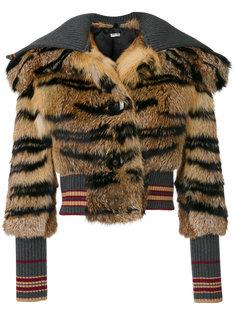 приталенная куртка с тигриным узором  Miu Miu
