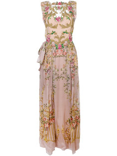 плиссированное платье с цветочной вышивкой  Alberta Ferretti