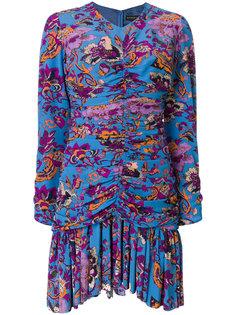 платье мини с цветочным принтом и оборкой  Etro