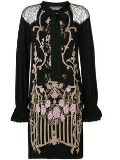 платье с тканым цветочным узором Alberta Ferretti