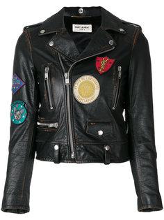 кожаная куртка с вышитыми деталями Saint Laurent