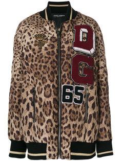 куртка-бомбер с леопардовым принтом  Dolce & Gabbana