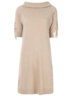 платье с вышивкой на рукавах Blumarine