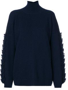 свитер с высоким воротником и бахромой на рукавах Barrie